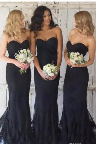 Pretty 2018 Black Lace Chiffon Bridesmaid Dresses Sexy A Line Sweetheart Maid Of Honor Dresses for Summer Country Weddings Appliques,Wedding Guest Dress,Women Gowns