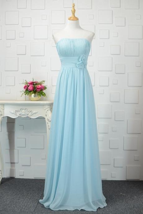Light Blue Floor Length Bridesmaid Dresses, Simple Bridesmaid Dress 2018, Blue Formal Dresses,Plus Size Chiffon Long Party Dress,Women Party Gowns ,Girls Party Gowns