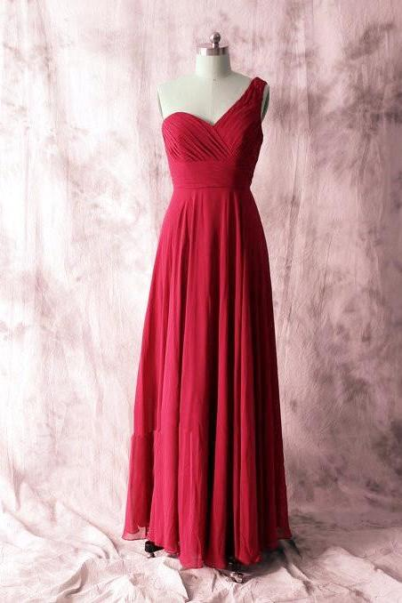 Beautiful Wine Red One Shoulder Bridesmaid Dress, Bridesmaid Dress 2018, Long Party Dres,Plus Size Bridesmaid Dresses, Women Party Gowns .Girls Pageant Gowns