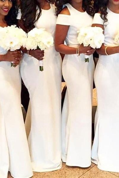 White Off Shoulder Round Simple Long Bridesmaid Dress, White Party Dress, Wedding Party Dress,White Mermaid Bridesmaids Dresses, Mermaid Party Gowns ,Plus Size Wedding Guest Gowns .