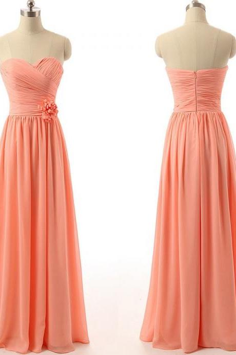 Chiffon Pretty Ruched Sweetheart Floor Length A-Line Bridesmaid Dresses Featuring Floral Embellishment, Simple Prom Dresses, Party Gowns,Wedding Guest Gowns , Party Gowns .