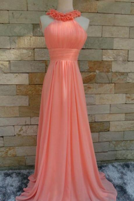 Coral Chiffon Halter Floral Long Bridesmaid Dresses, Lovely Prom Dresses 2018, Party Dresses,Plus Size Wedding Guest Gowns ,Wedding Party Gowns ,Women Gowns