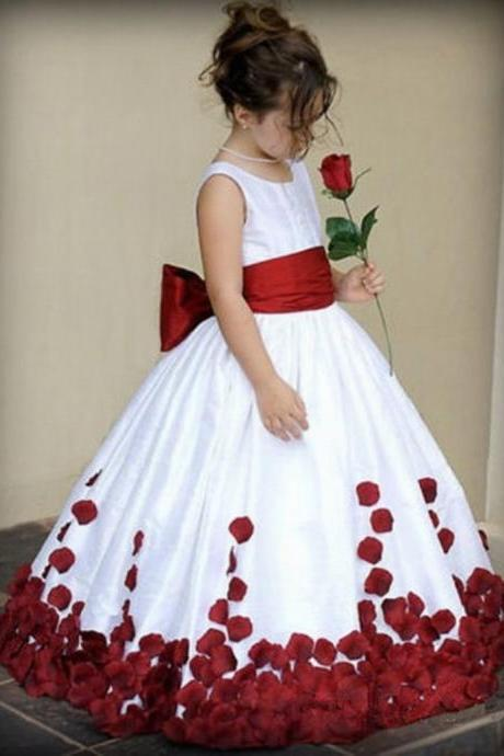 Round Neck Ball Gown Flower Girl Dress with Petals,2018 Pricess Flower Girls Dresses, Flower Girls Dresses, Little Girls Gowns .Custom Made Wedding Flowers Girls Gowns .