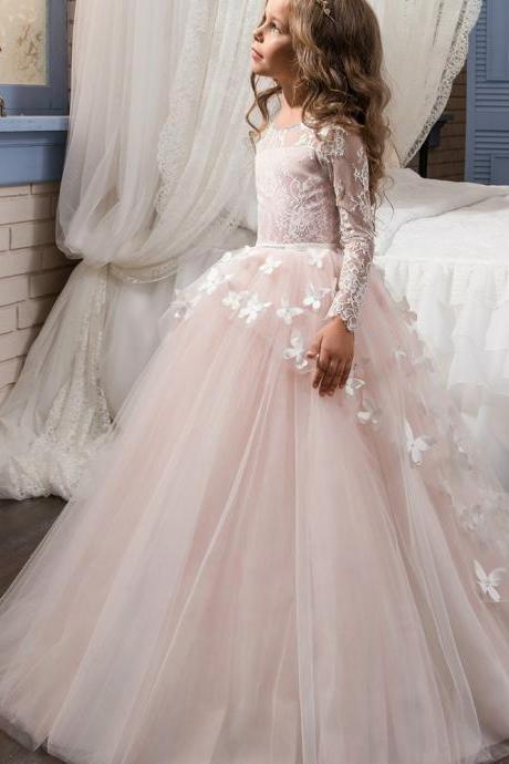 Formal Beautiful Kids Children Lace Long Flower Girl Dresses .Flower Girl Dresses.Flower Gril Dresses,Satin Flower Girl Dresses, Vintage Long Sleeve Flower Girls Gowns .