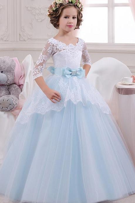 2018 New Arrival Half Sleeve Lace Flower Girls Dresses,Wedding Flower Gowns , Blue Tulle Flower Girls Dresses.Lace Child Gowns .Pricess Childen Gowns .Girls Pageant Gowns .Wedding Kids Gowns .