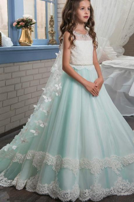 Formal Beautiful Kids Children Lace Long Flower Girl Dresses .Flower Girl Dresses.Flower Gril Dresses,Satin Flower Girl Dresses,Floor Length Girls Party Gowns ,Wedding Flower Girls Gowns .