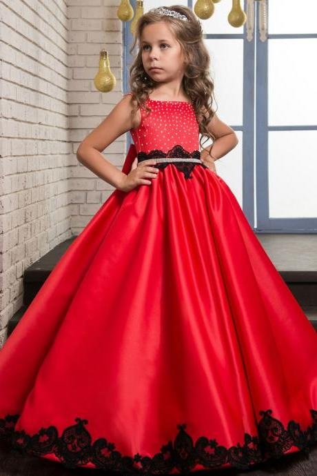 2018 New Arrival Red Satin Flower Girls Dresses,Wedding Flower Gowns , Black Lace Flower Girls Dresses. Beaded Child Gowns .Pricess Childen Gowns .Girls Pageant Gowns .Wedding Kids Gowns ,Cheap Pricess Gowns .