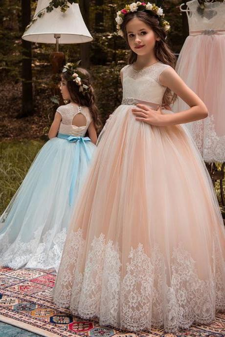 2018 New Arrival Lace Flower Girls Dresses,Wedding Flower Gowns , Champagne Tulle Flower Girls Dresses.Lace Child Gowns .Pricess Childen Gowns .Girls Pageant Gowns .Wedding Kids Gowns .Little Gowns , Cheap Flower Gowns