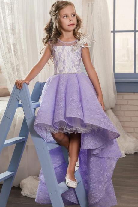 2018 New Arrival Purple Lace Wedding Flower Girls Gowns ,High low Wedding Flower Grils Dresses,Sweep Train Little Girls Gowns ,Sexy Beaded Wedding Girls Gowns ,Little Girls Pageant Gowns .