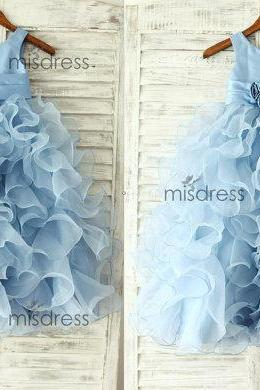 New Arrial Light Blue Organza Wedding Flower Girls Dresses, Pricess Flower Girls Gowns .A Line Girls Gowns .Hand Made Flower Girls Gowns Pricess Girls Gowns .,A Line Party Gowns ,Skirts Tiers Girl\s Pageant Gowns .