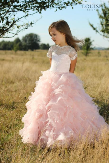 New Arrial Scoop Wedding Flower Girls Dresses, Pricess Flower Girls Gowns .A Line Girls Gowns .Hand Made Flower Girls Gowns Pricess Girls Gowns ., Skirts Tiers Party Gowns . Cheap Wedding Flower Girls Gowns ,A Line Party Gowns Pink
