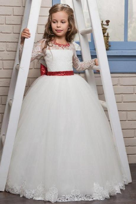 New Arrial Lace Wedding Flower Girls Dresses, Pricess Flower Girls Gowns .A Line Girls Gowns , Wedding Party Girls Gowns Pricess Girls Gowns ., Cheap Wedding Flower Girls Gowns ,A Line Party Gowns Beaded Girls Gowns .