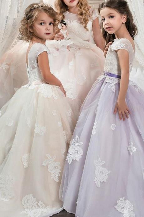 New Arrial Scoop Wedding Flower Girls Dresses, Pricess Flower Girls Gowns .A Line Girls Gowns .Hand Made Flower Girls Gowns Pricess Girls Gowns ., Cheap Wedding Flower Girls Gowns ,A Line Party Gowns