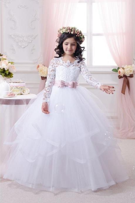 Full Long Sleeve Flower Girls Gowns ,, Pricess Flower Girls Gowns .A Line Girls Gowns .Hand Made Flower Girls Gowns Pricess Girls Gowns ., Cheap Wedding Flower Girls Gowns ,A Line Party Gowns ,tulle women gowns