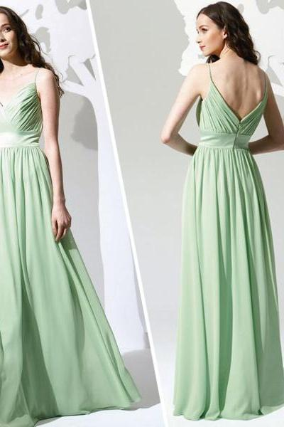 Green Chiffon Ruched Plunge V Spaghetti Straps Floor Length A-Line Wedding Guest Dress
