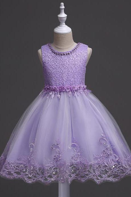 New Arrival Lavender Flower Girls Dresses , Short Child Gowns ,Cute Scoop Flower Party Gowns ,Short Child Dress, Little Giros Gowns ,Pricess Flower Gowns , Vintage Girls Gowns .