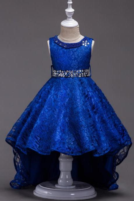 Flower Girls Dresses,New Arrival Royal Blue Lace Wedding Girls Gowns ,High Low Little Girls Dresses, High Low Flower Girls Dresses, Beaded Wedding Girls Gowns ,Lace Kids Gowns ,Pricess Children Gowns .