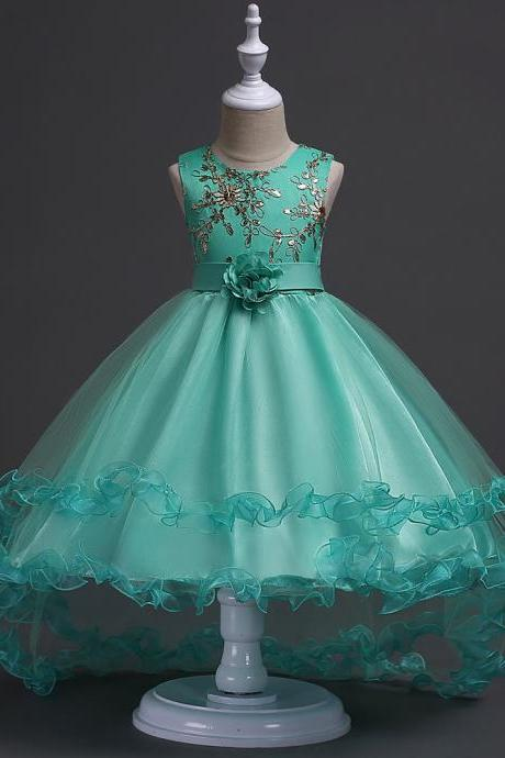 2018 New Arrival High Low Flower Girls Dresses,Gold Lace Wedding Flower Gowns, Green Tulle Kids Gowns ,Little Girls Pageant Gowns ,Bridal Children Gowns ,Girls Party Gowns .