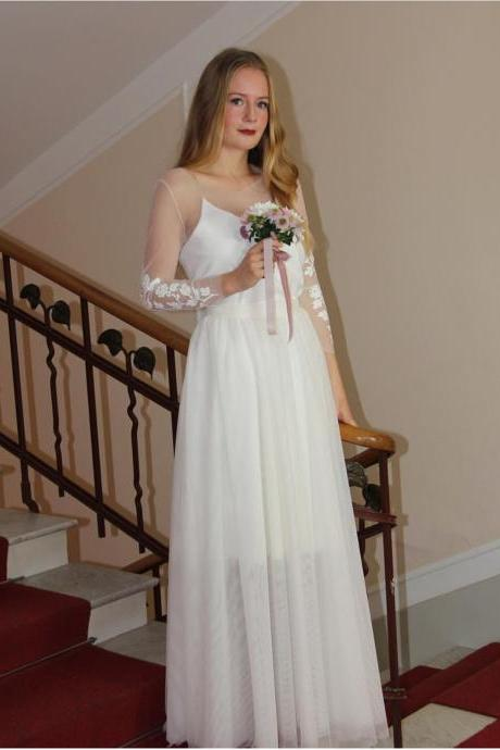 Illusion Lace Appliqués A-line Floor-Length Country Wedding Dress with Long Sleeves