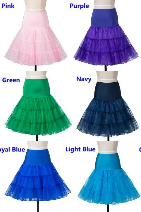 Cheap Knee Length Women Skirt Tutu Skirts A Line Midi Underskirt Petticoat For Wedding Prom Dress Bridal Gown, Wedding accessories tulle ponytube for girls ponytail under the dress with a lush skirt