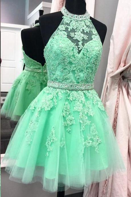Green halter homecoming dress,tulle homecoming dress,short prom dresses 2018,lace homecoming dress,elegant party dress, Girls Party Gowns , Wedding Evening Gowns .