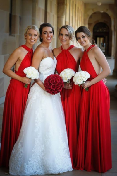 Red Halter Long Prom Dresses Sexy Backless Bridesmaid Dresses, A Line Women Bridesmaid Dresses, Custom Made Wedding Party Gowns , Girls Wedding Bridesmaid Gowns .