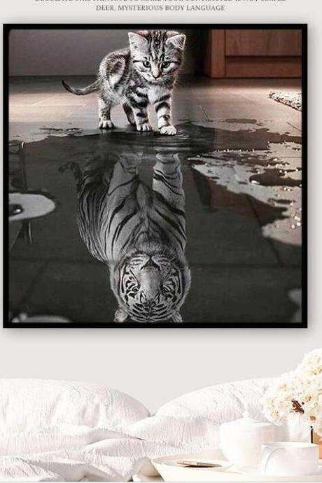 Size 30 x 40 cm Diamond Embroidery, Full,3D,Diy,Diamond Painting,Round,Rhinestone,Cross Stitch,Mosaic,Diamond Embroidery,Cat,Tiger,Animal,Crafts,Resin,Needlework