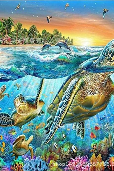 Size 30 x 40 cm 5D DIY Diamond Painting Scenery Mosaic Turtle Diamond Rhinestone Embroidery Cross Stitch home decor gift,Diamond Paintings ,Animal Diamond Painting