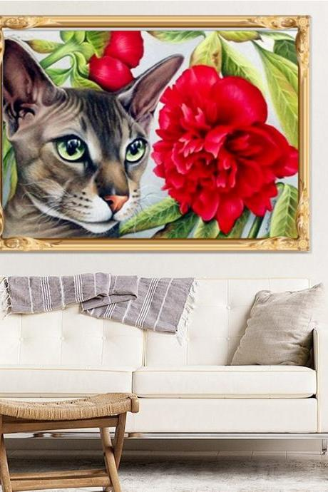 Size 40 x 30 cm 5 D Diy Diamond Painting Cat l Rhinestones Cross Stitch 5D Mosaic Diamond Embroidery Home Decoration.Special Diamond Embroidery Paintings,Animal Diamond Painting