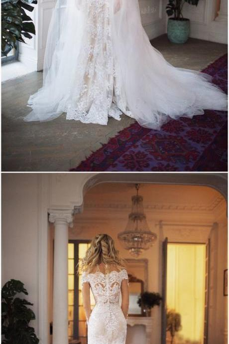 Plus Size Mermaid wedding dresses, lace bridal gowns , plus size country wedding dress