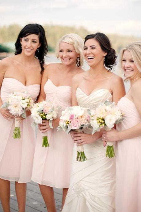 Blus Pink Bridesmaid Dresses,Short Bridesmaids Dresses,Sweetheart Wedding Guest Dress,Formal Party Dress,