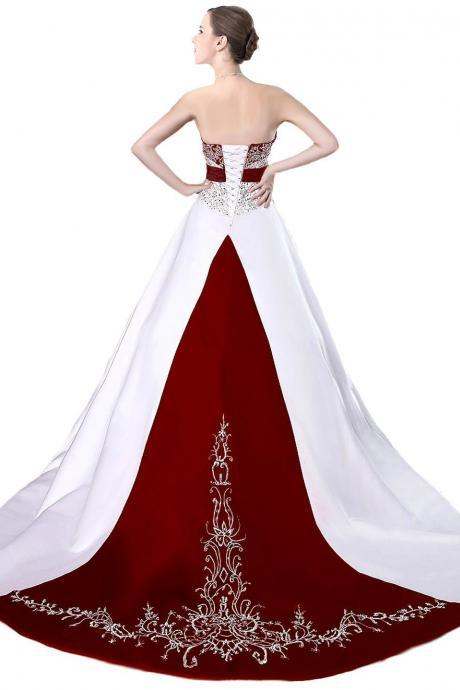 Pricess White And Burgundy Satin Embroidery Beaded Wedding Dresses, Pricess Bridal Gowns , Strapless Country Wedding Gowns ,Lace up Wedding Gowns