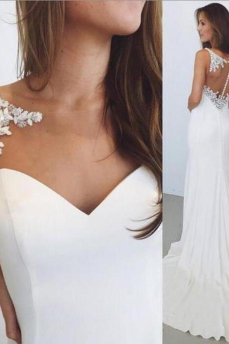 Gorgeous White Lace Wedding Dress Off Shoulder Bridal Gowns , China Wedding Dress , Simple Dresses