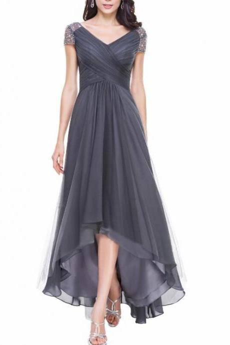 New Arrival Gray Chiffon Beaded High Low Prom Dress , Off Shoulder Long Prom Gowns , Bridesmaid Dresses Plus Size