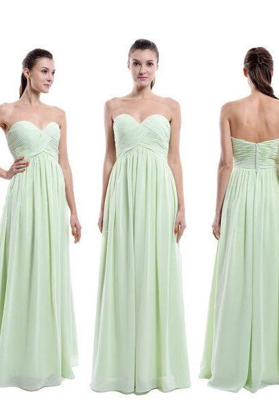 Mint Green Strapless Sweetheart Ruched A-line Floor-Length Chiffon Bridesmaid Dress, Maid of Honor Gowns