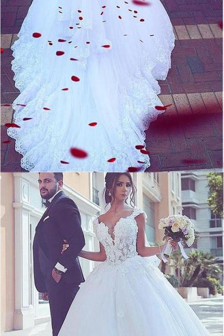 Fantasic White Lace Pricess Wedding Dresses Custom Made Bridal Gowns Arabic Wedding Gowns ,Ball Gowns Wedding Dresses.