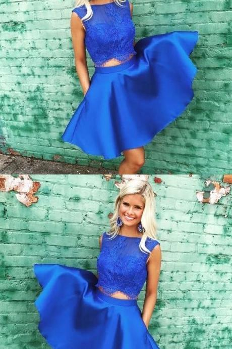 Off Shoulder Royal Blue Lace Homecoming Dress Short Girls Cocktail Gowns ,Plus Size Party Dress, Women Pageant Gowns A Line ,