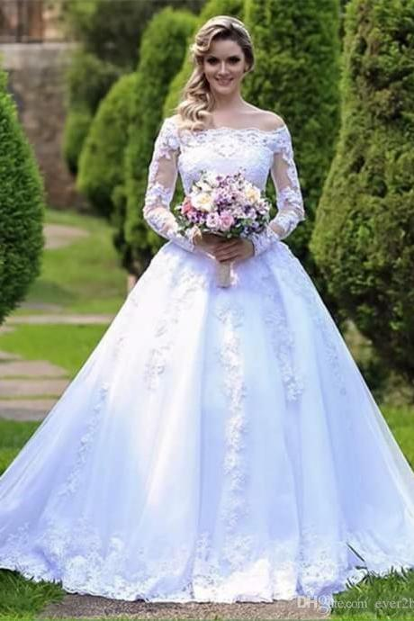 Long Sleeve White Pricess Wedding Dresses Boat Neck Lace Wedding Country , Ball Gowns Wedding Dresses Plus Size