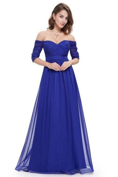 Off Shoulder Ruffle Long Bridesmaid Dress Royal Blue Chiffon Wedding Guest Gowns ,Maid Of Honor Dresses