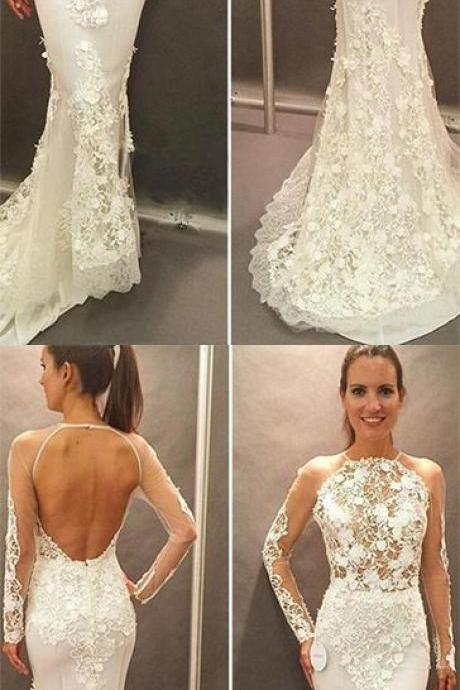 Sexy Backless Wedding Dress Mermaid Plus Size Women Bridal Gowns ,Girls Pageant Gowns , Sexy Women Flolar Flower Wedding Dress