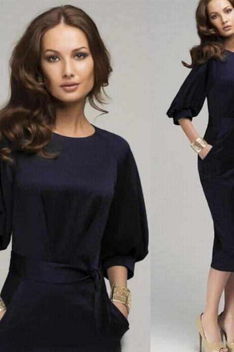 Newly Dark Blue Short Women Party Dress With 3/4 Long Sleeve ,Short Girls Maxi Dress,Sexy Women Party Gowns ,Plus Size Women Gowns .