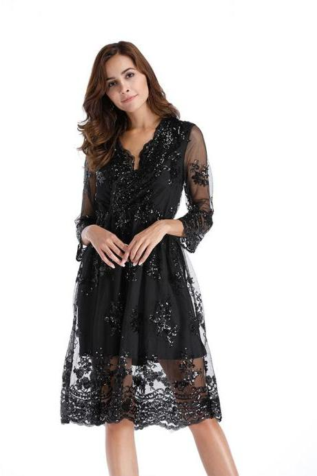 Sexy V-Neck Short Women Dress Black Lace 3/4 Sleeves Party Gowns ,2018 Summer Dress, Short Party Gowns