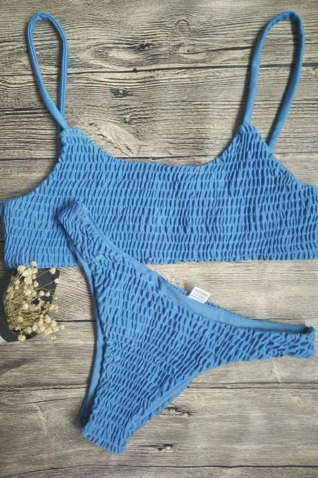 Blue Fashion Swimsuits,Two Pieces Cheap Swimwear,Sexy Lady Swimsuits