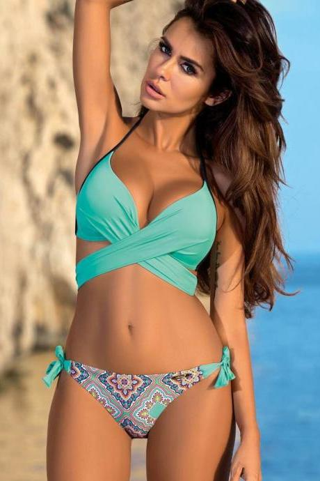 Sexy Underwear Summer Swimwear, Bikini ,Beach Swimsuits , Two Pieces Boho Sets .CROSEE swimwear