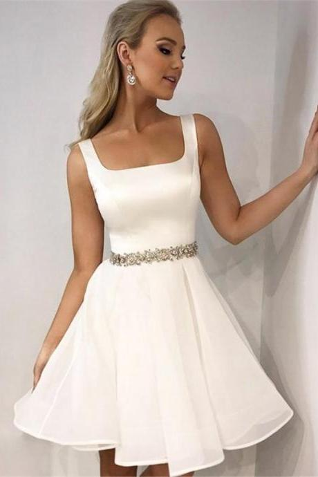 White Chiffon Girls Mini Cocktail Dress With Belt Beaded, White Short Homecoming Dress .Prom Dress For Little Girls