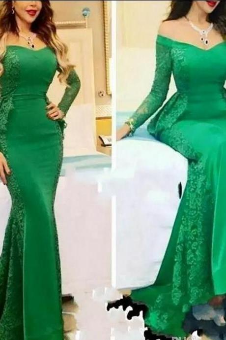 Green Lace Saudi Arabia Mermaid Evening Dresses Elegant Long Sleeve Peplum V Neck Formal Party Dress Floor Length Prom Gown
