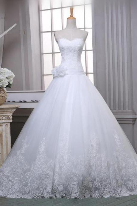 Custom Made Sweetheart Neck Lace White/Ivory Simple Wedding Dresses 2018 A Line Tulle Elegant Wedding Gowns