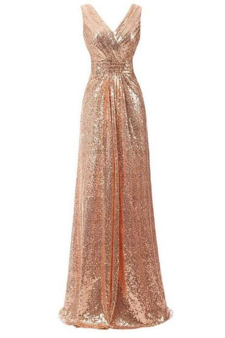 New Arrival Roe Gold Sequin Long Bridesmaid Dress Plus Size Women Party Gowns A LINE Pageant Gowns .Strapless Pary Gowns