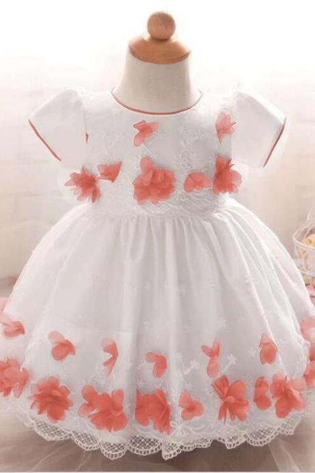 Wedding Flower Little Girls Dress O-Neck Tulle Party Gowns ,Bady Dress,Pricess Flower Girl Dress, Short Sleeve Girls Dress
