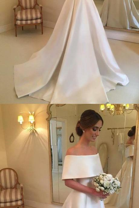Vintage Off Shoulder White Satin Wedidng Dresses Custom Made Women Bridal Gowns A Line